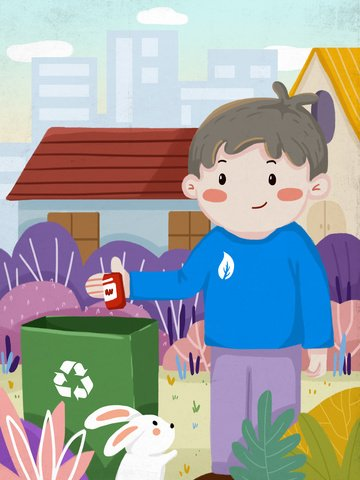 environmentally friendly environment boy throws garbage into the trash can llustration image