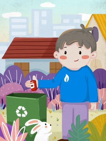 Environmentally friendly environment boy throws garbage into the trash can, Boy, Rabbit, Plant illustration image