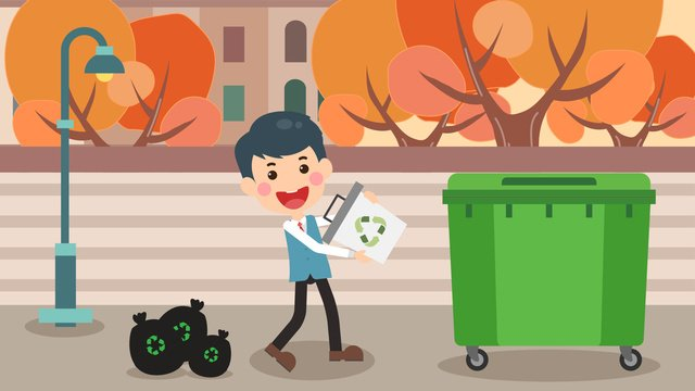 cute boys in environmental protection throw garbage llustration image illustration image