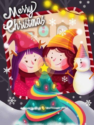 クリスマスの女の子と雪だるまの小さな新鮮なイラスト イラスト素材