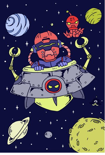 cosmic adventure robot clip ufo rocket planet moon octopus llustration image