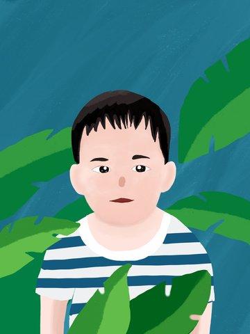 Chubby little boy illustration, Fat Man, Chubby Toot, Little Boy illustration image