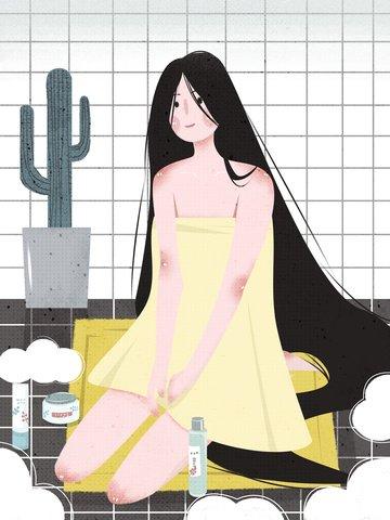 扁平風手繪浴室女孩護膚插畫 插畫素材