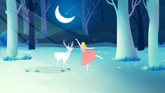 Lin shen sees the deers warm healing little girl and deer illustration, Forest, Elk, Moon illustration image