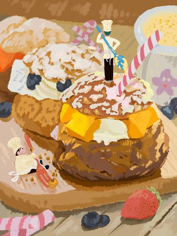 Original illustration of the food fight, Gourmet Battle, Snack Illustration, Pastry Illustration illustration image