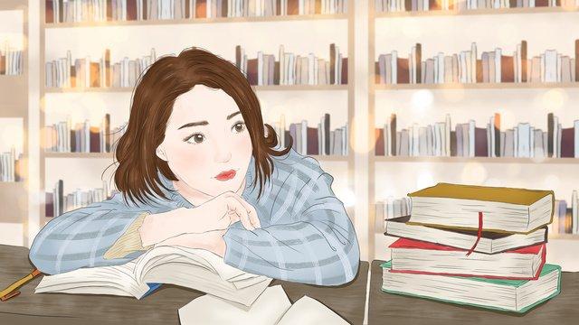 mão de menina desenho ilustração um exame pós graduação no salão leitura Material de ilustração Imagens de ilustração