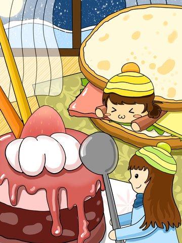 Cute girl with gourmet stroke illustration, Lovely, Girl, Two Girls illustration image