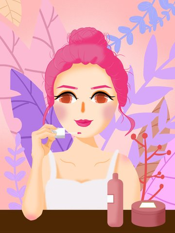Original texture illustrator girls beauty diary, Makeups, Beauty Skin, Makeup Girl illustration image