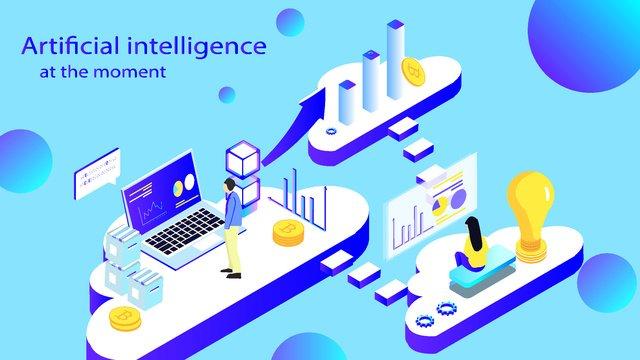 Artificial intelligence 2.5d virtual business office, Original, Business Office, Artificial Intelligence illustration image