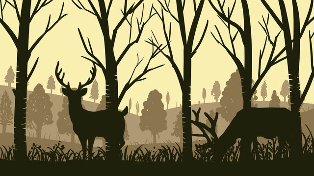 Silhouette series deer illustration poster in the woods with map, Silhouette, Forest And Deer, Forest illustration image