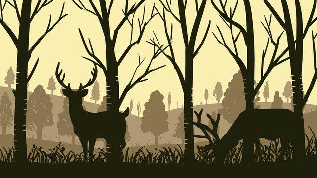 नक्शे के साथ जंगल में सिल्हूट श्रृंखला हिरण चित्रण पोस्टर चित्रण छवि