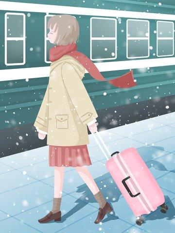 spring festival home illustrator winter holiday girl imej keterlaluan