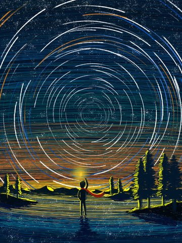 Coil star explorer looking up, Star, Small Island, Far Mountain illustration image