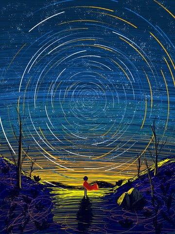 Coil wonderful starry sky illustration, Starry Sky, Coil Illustration, Tree illustration image