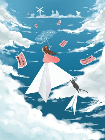 wallpaper Small fresh illustration Blue sky and white clouds, Ticket, Paper Plane, Come Back Home illustration image
