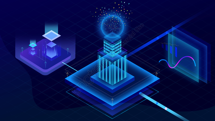 Blue 2 5d Breathable Artificial Intelligence Business Technology, 2.5d, Blue, Breathable llustration image