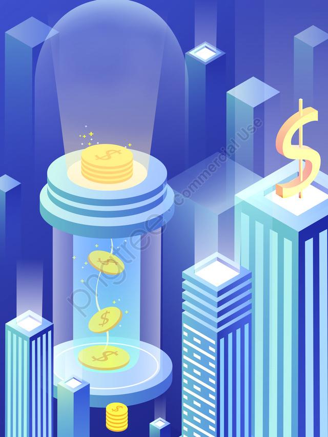 2.5d blue breathable financial technology, 2.5d, City, Blue llustration image