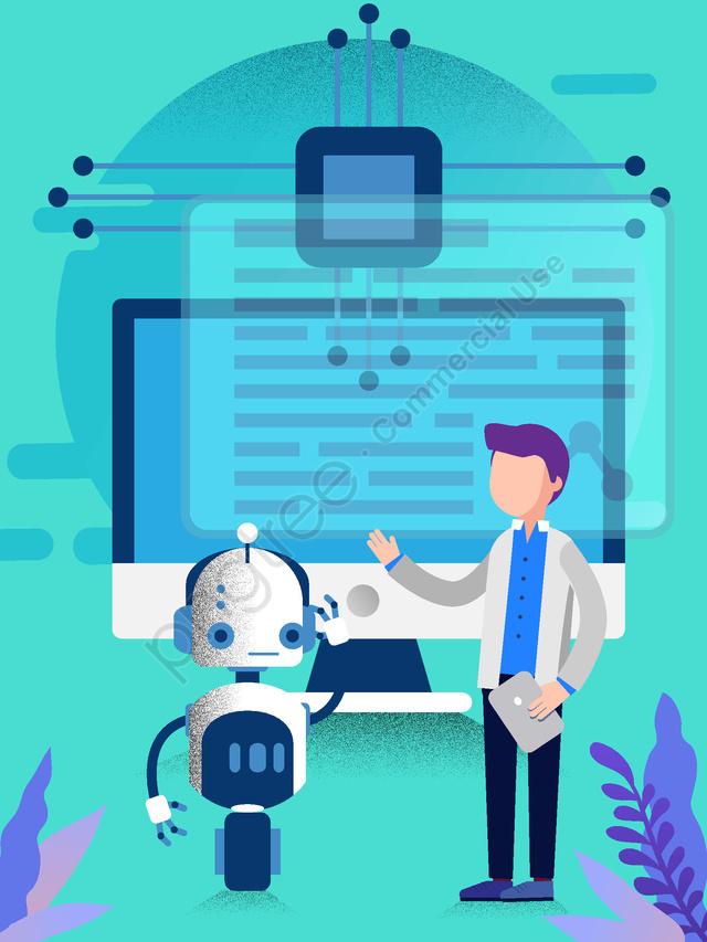कृत्रिम बुद्धिमत्ता प्रौद्योगिकी भविष्य का रोबोट वेक्टर चित्रण, कृत्रिम बुद्धि, विज्ञान और प्रौद्योगिकी, भविष्य llustration image