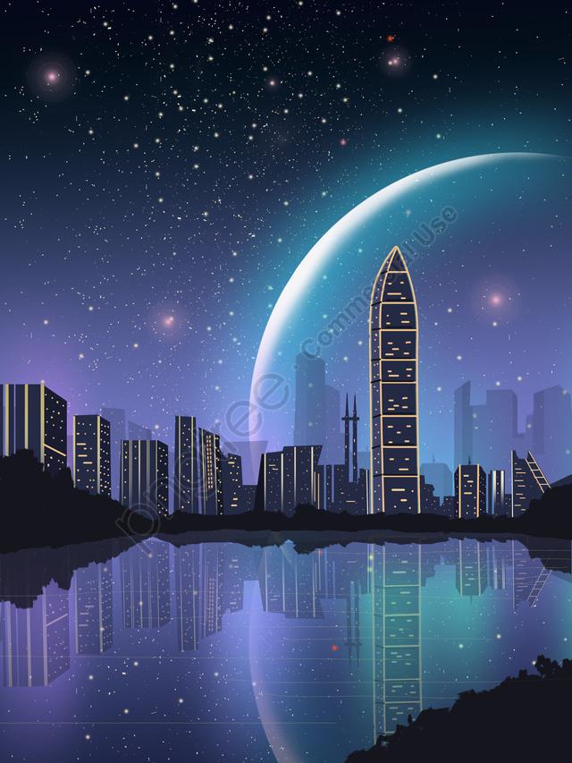 Впечатление Шэньчжэнь город ночной вид красивое звездное небо ориентир силуэт, баннер, H5, Шэньчжэнь ориентир llustration image