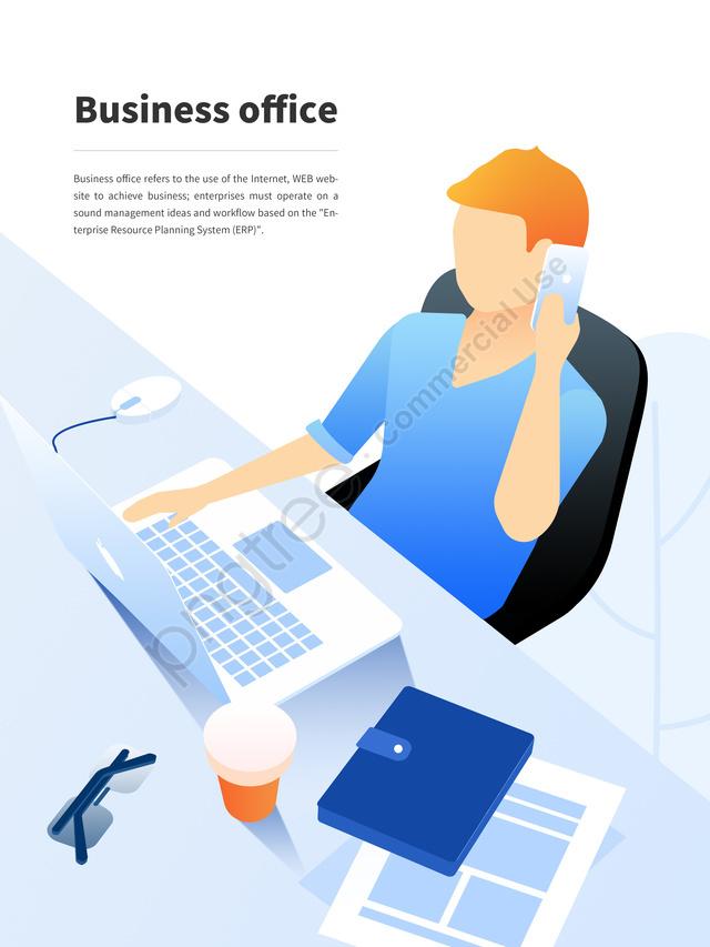 Flat Wind Business Office Ui Illustration Work, Business, Office, Flat llustration image