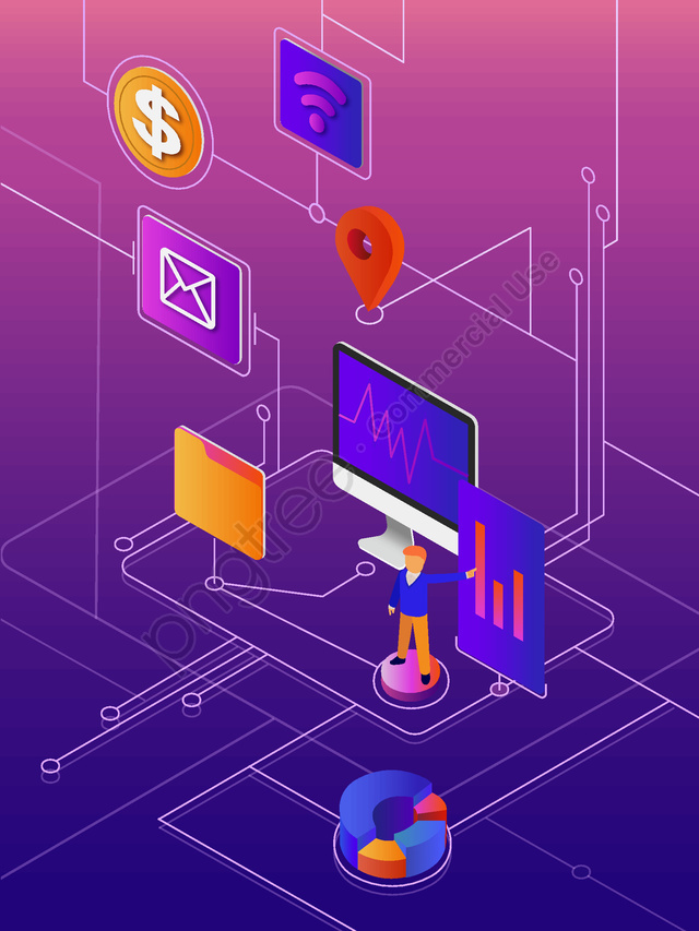 Business office finance simple 2.5d flat illustration, Business, Office, Simple llustration image