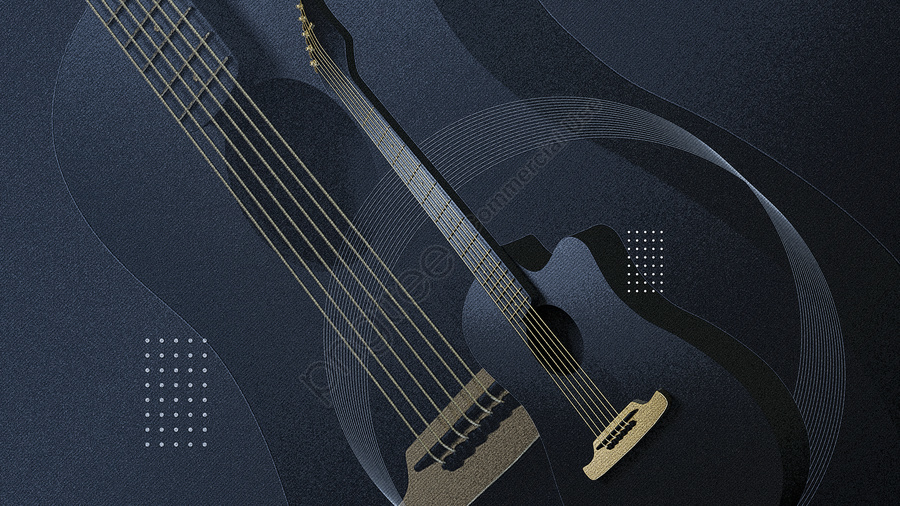 C4d Kreatif Gitar Muzik Hitam Emas Alat Pemandangan Ilustrasi Stereo, C4d, Kreatif, Gitar llustration image