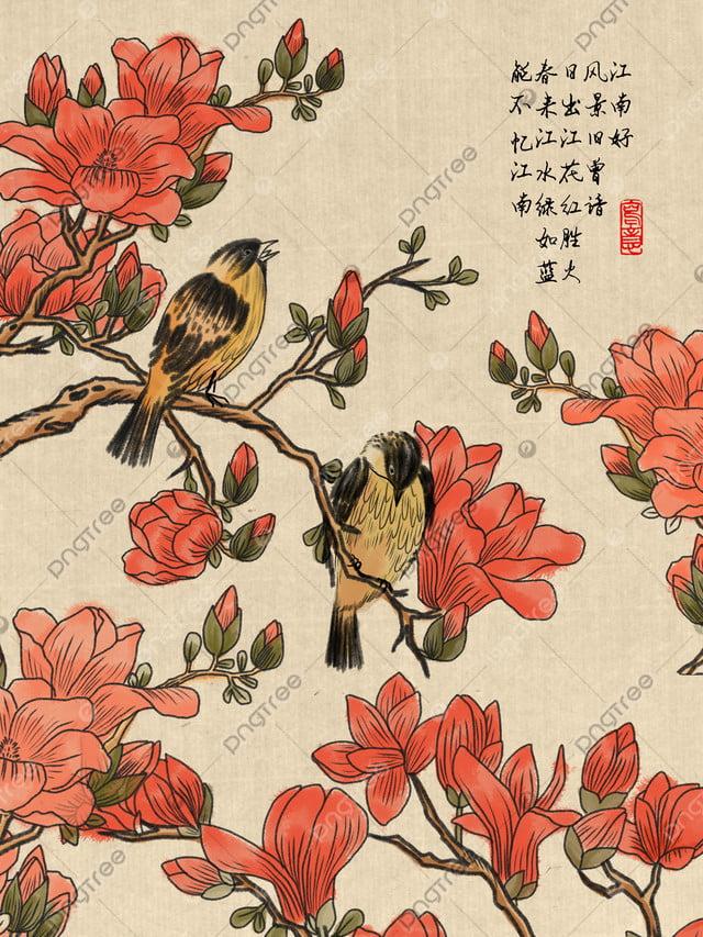 中国風の水墨画中国の花と鳥のイラスト, 中華風, インク, イラスト llustration image