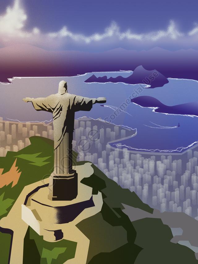 都市シルエットブラジルリオランドマークイラスト, 街のシルエット, ブラジル, リオデジャネイロ llustration image