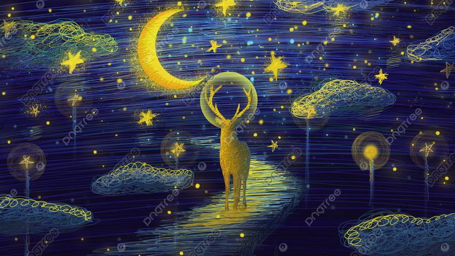 The coil cures deer on wonderful starry sky ladder, Coil, Healing, Starry Sky llustration image