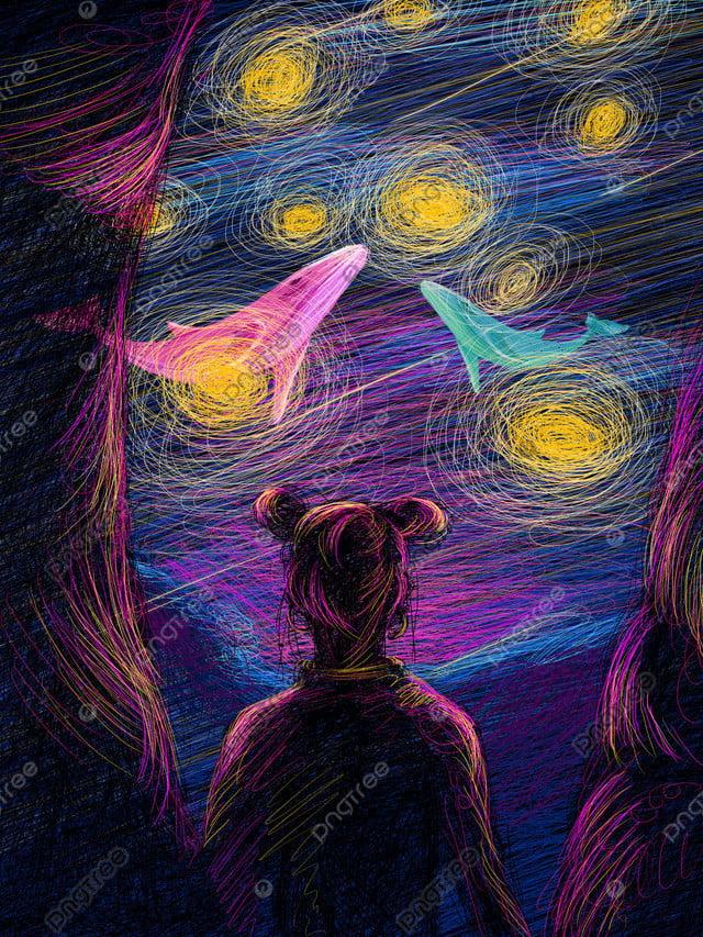 कुंडल चित्रण सुंदर उपचार लड़की वापस सपने देख तारों से आकाश, कुंडल चित्रण, सौंदर्य चिकित्सा प्रणाली, लड़की वापस llustration image