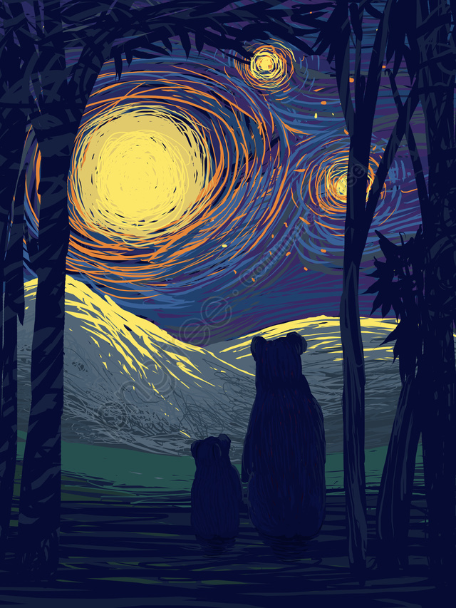 Coil illustration beautiful healing system looking up starry sky, Coil Illustration, Beautiful, Healing llustration image