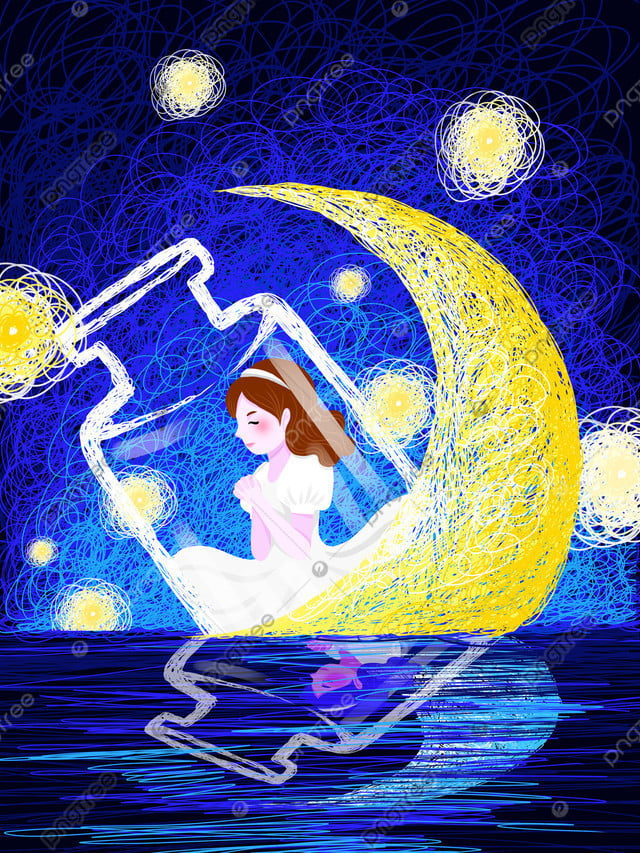 Coil cure is a fantasy starry sky girl wishing illustration, Coil Illustration, Healing, Starry Sky llustration image