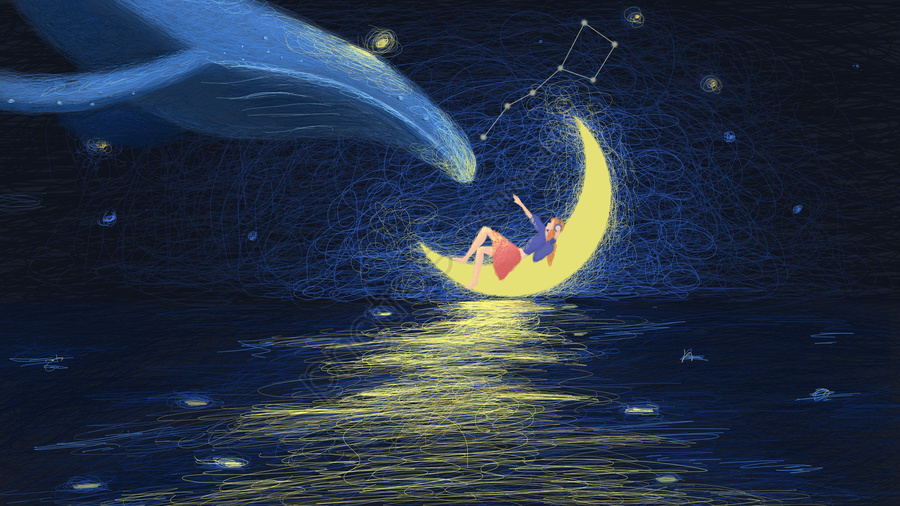 Bobina Ilustração Estrelado Céu Cura Lua Baleia Garotinha, Bobina De Ilustração, Céu Estrelado, Sistema De Cura llustration image