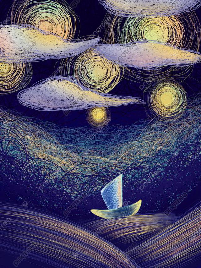 Phong Cách Cuộn Dây Trong Mơ Tuyệt Vời Bầu Trời đầy Sao Chữa Bệnh Minh Họa, Gió Cuộn, Giấc Mơ, Chữa Bệnh llustration image