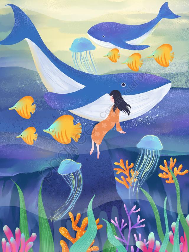 Ilustrasi Dalam Air Biru Paus Laut, Paus Laut Dalam, Bawah Laut Biru, Ilustrasi Bawah Laut llustration image