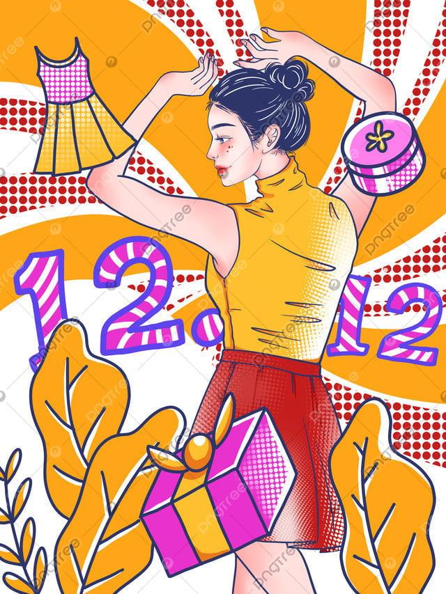 Double 12 Phong Cách Pop Người Phụ Nữ Nhảy Múa Minh Họa, Đôi Mười Hai, Gió Pop, Thương Mại điện Tử llustration image