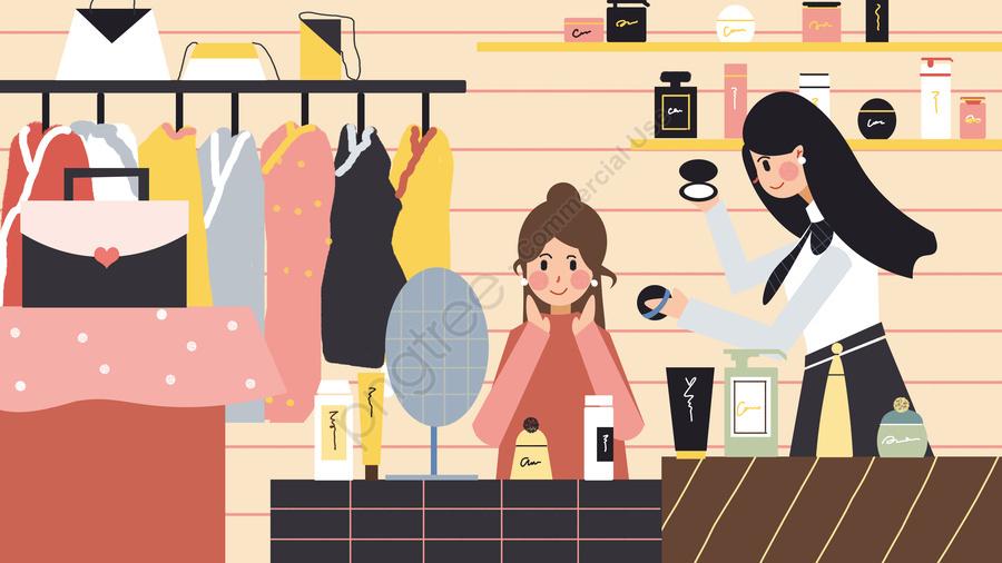 Fashion makeup girl cosmetics shopping guide beauty illustration, Fashion, Make Up, Girl llustration image