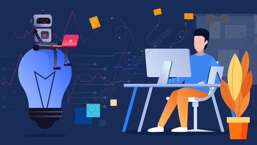 फ्लैट रोबोट ग्राहक सेवा भविष्य की तकनीक, समतल, रोबोट, संवाद llustration image