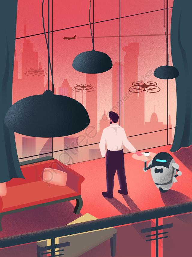 Роботизированная иллюстрация дворецкого технологии будущего, Технологии будущего, Робот экономка, стиль жизни llustration image