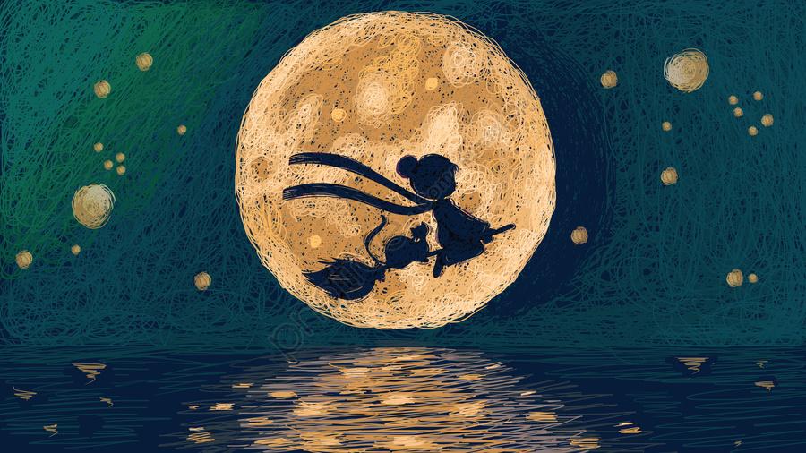 リトルウィッチは過去の夜の美しいコイルの図を過ぎて飛ぶ, 少女, ねこ, 月 llustration image