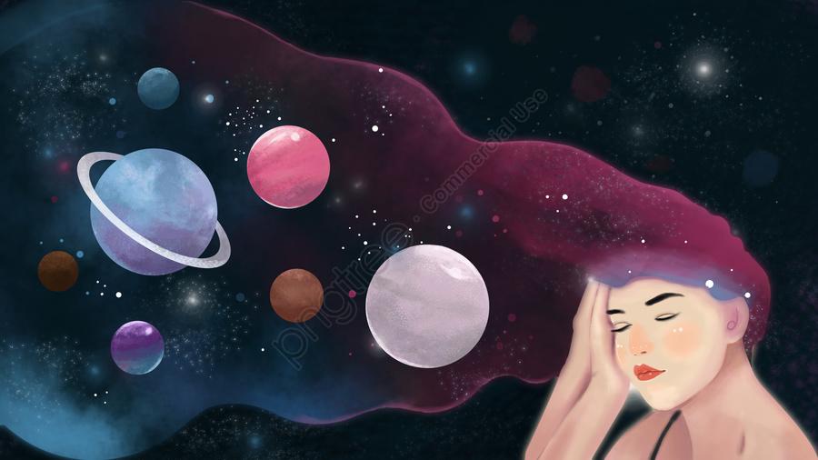 Девушка спать мечтает конфеты цвет спокойной ночи привет звездная иллюстрация, девушка, сниться, Звездное небо llustration image