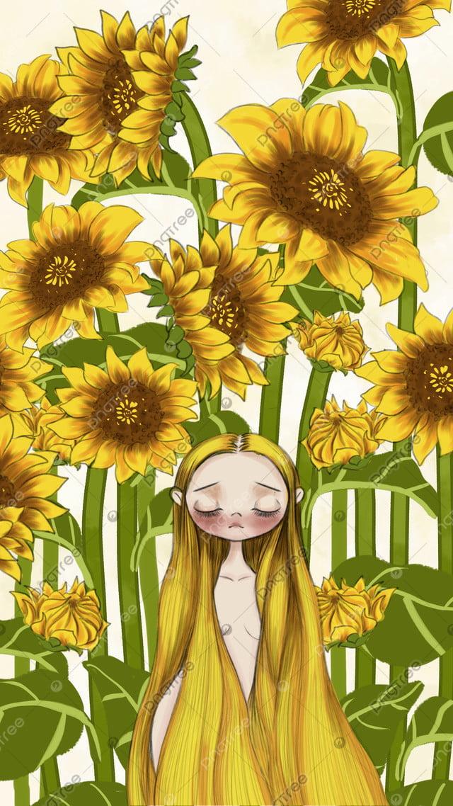 少女植物ヒマワリ癒しシステム小さな新鮮なイラスト, 少女, 植物, ひまわり llustration image