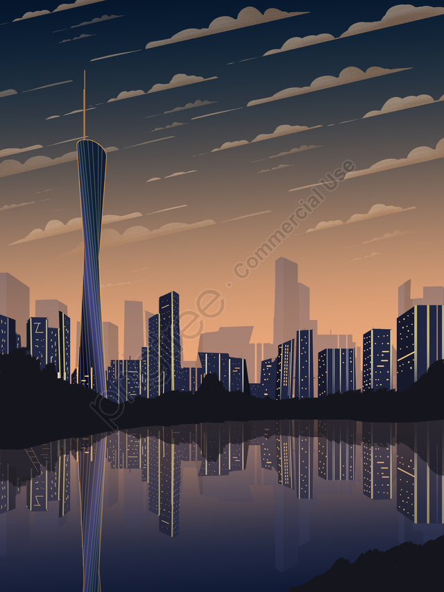 Impression Of Guangzhous Twilight Gradient City Silhouette Investment Recruitment, Guangzhou Landmark, City Silhouette, City building llustration image