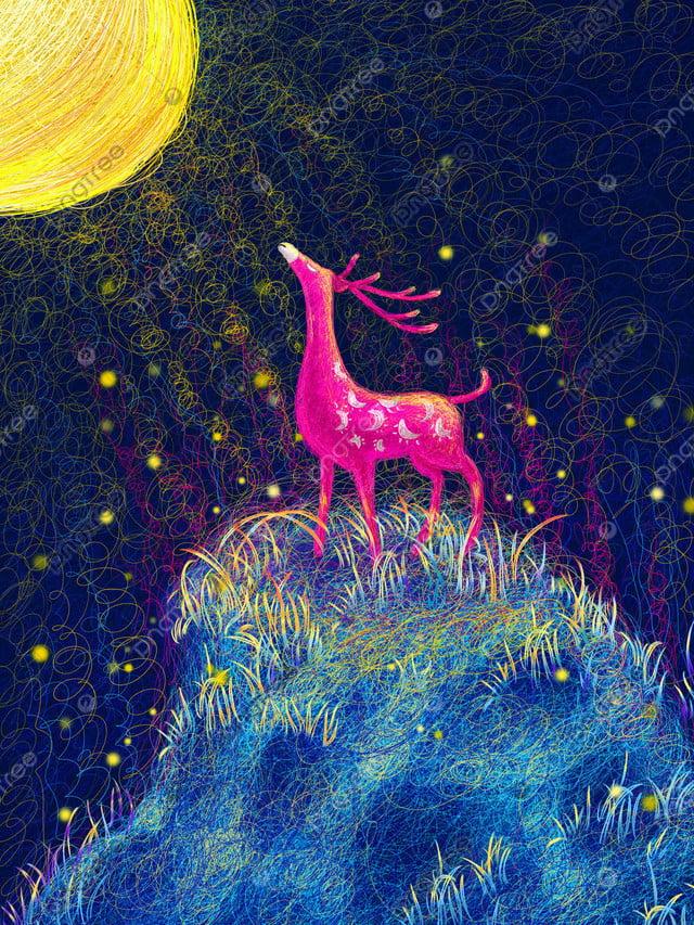Healing Elk Illustration Under The Moonlight, Healing, Deer, Moonlight llustration image