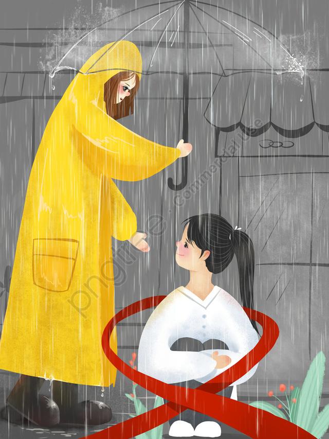 Chăm Sóc Minh Họa Nhỏ Ban đầu Cho Bệnh Nhân Aids, Minh Họa, Aids, Mưa llustration image