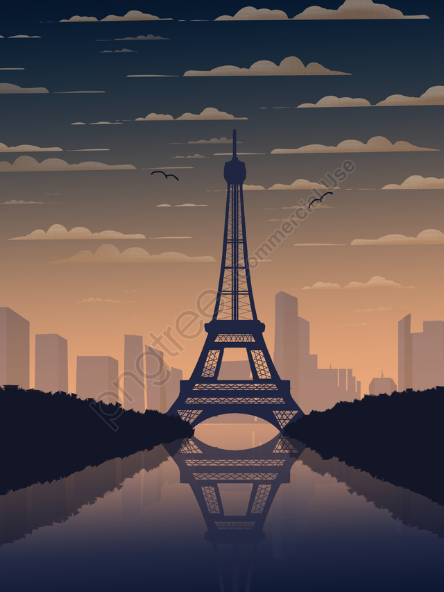 印象フランスパリエッフェル塔グラデーションシティ風景, 印象, フランス, ロマンチックな首都 llustration image