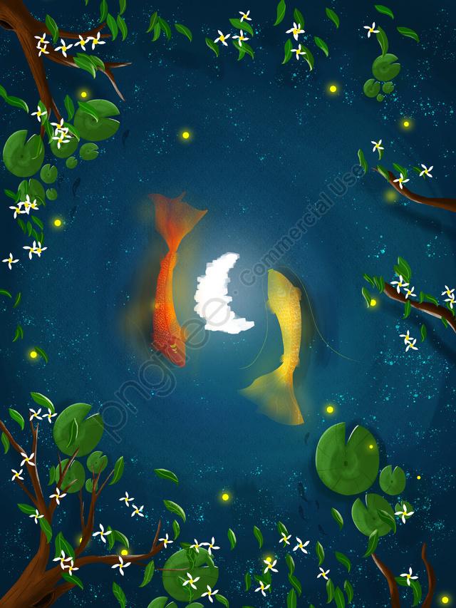 Lotus Estanque De Transporte Nocturno Koi, Koi, Luna, Arbol llustration image