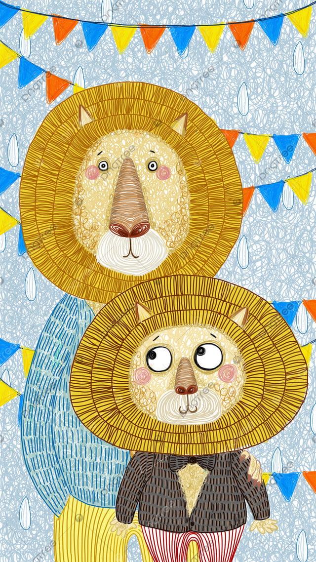 ライオン癒し部門小さな新鮮な子供のイラスト, ライオン, 森の王, 癒し系 llustration image