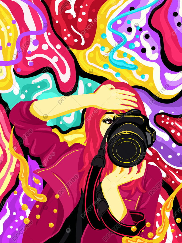 流れるキャンディーカラーのファッションの女の子の写真を撮る, モバイルキャンディーカラー, キャンディーカラー, 流れる色 llustration image