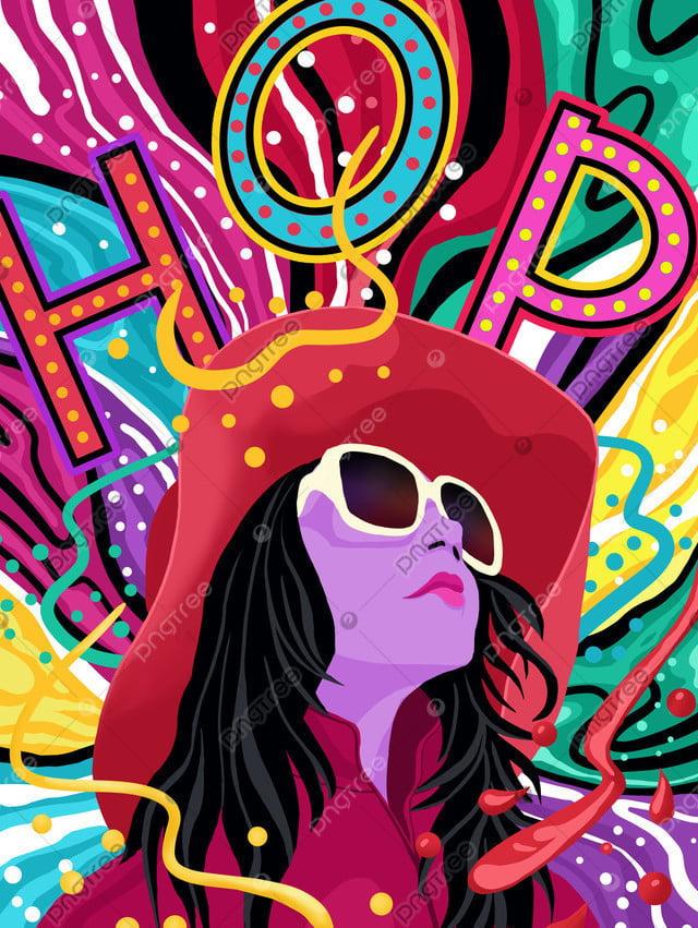 Flowing candy color hip hop fashion girl series illustration, Mobile Candy Color, Flowing Color, Colorful llustration image